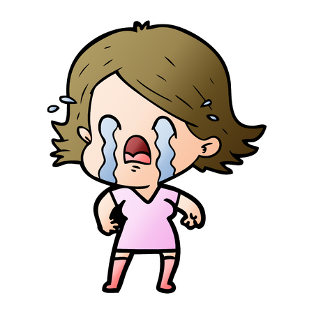 Cartoon woman crying Stock Illustratie