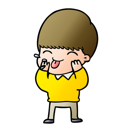 cartoon boy blowing raspberry 일러스트