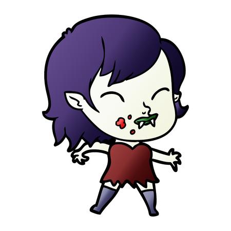 cartoon vampire girl with blood on cheek Banco de Imagens - 95084648