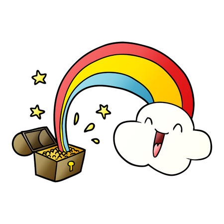 cartoon rainbow and pot of gold