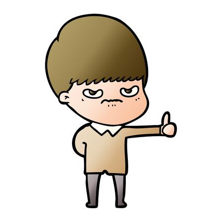 angry cartoon boy Vector illustration.