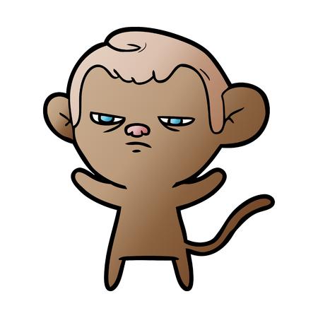 cartoon annoyed monkey Illustration