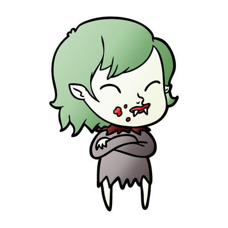 Fille vampire de bande dessinée avec le sang sur la joue Banque d'images - 95083743