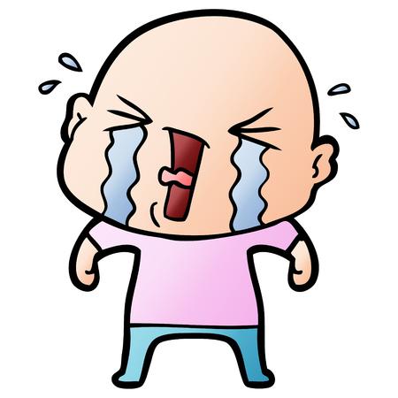 cartoon crying bald man Ilustrace