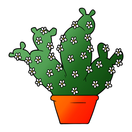 cartoon potted cactus Illustration