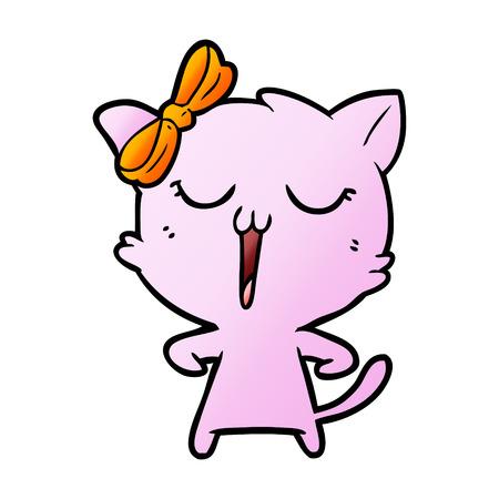 cartoon pink cat with orange ribbon Stock Illustratie