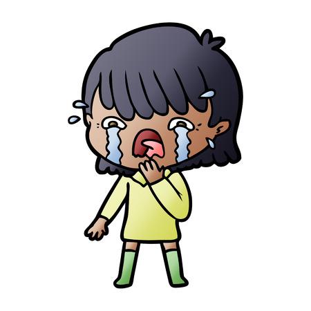 漫画の女の子泣いて  イラスト・ベクター素材