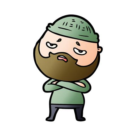 Cartoon worried man with beard. 向量圖像