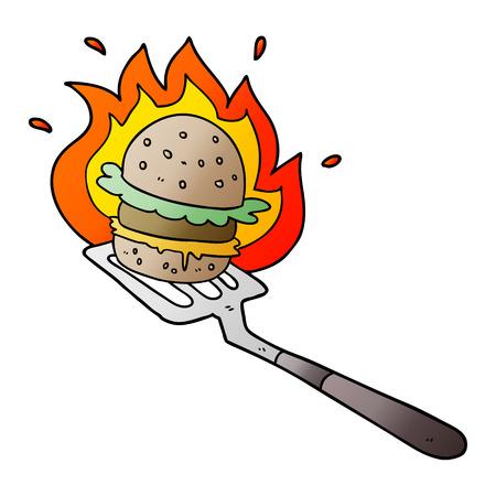 Cartoon flaming burger on spatula.