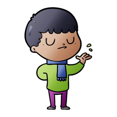 cartoon grumpy boy Vector illustration.