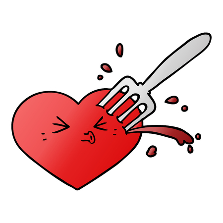 cartoon love heart stuck with fork