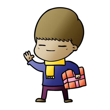 cartoon smug boy carrying present