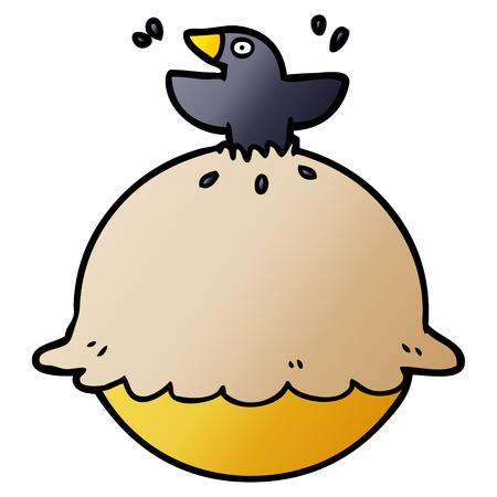 Cartoon Amsel in einem Kuchen Standard-Bild - 95092039