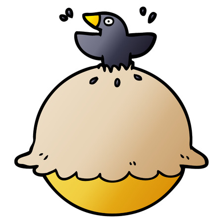 cartoon blackbird in a pie Ilustração