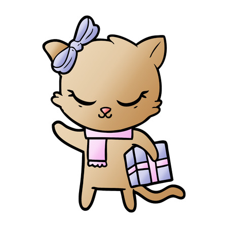 cute cartoon cat with present Illustration