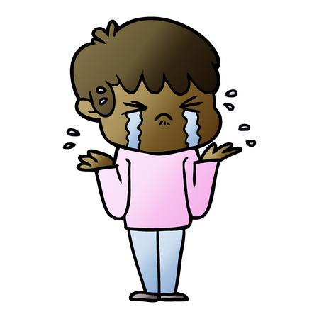 cartoon boy crying and shrugging shoulders Ilustração