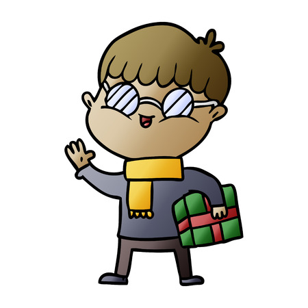 cartoon boy wearing spectacles carrying gift