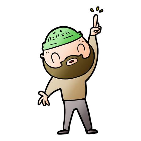 cartoon bearded man Vector illustration. 일러스트