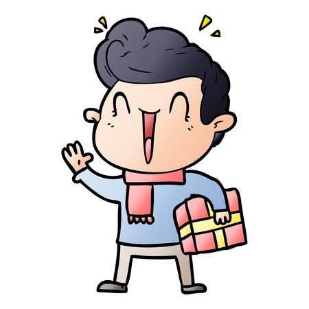 Cartoon excited man