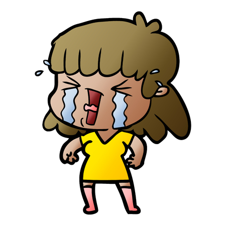 cartoon woman in tears Stock Illustratie