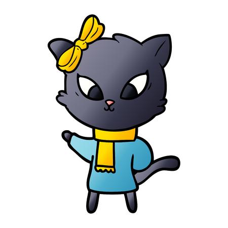 黄色のスカーフとリボンを持つ漫画の猫