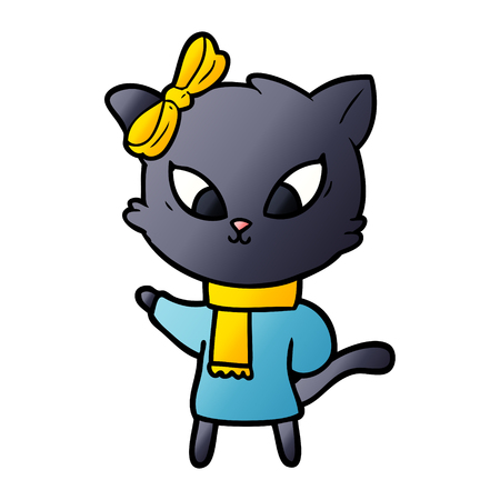 cartoon cat with yellow scarf and ribbon