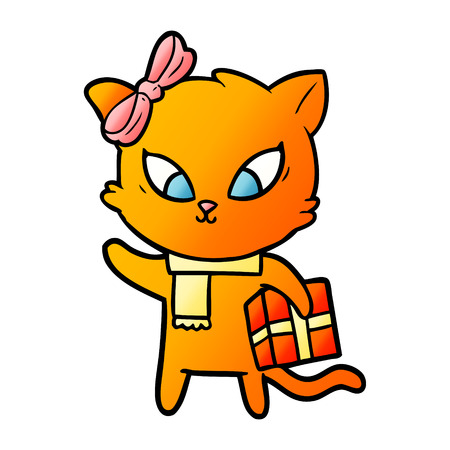 cartoon orange cat with gift and ribbon Stock Illustratie