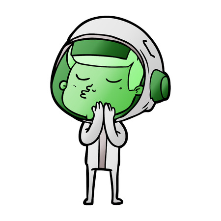 cartoon confident astronaut