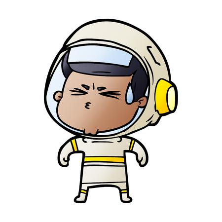 Cartoon stressed astronaut Illusztráció