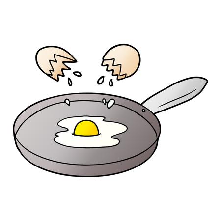 Cartoon pan frying egg