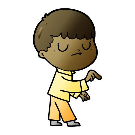 Cartoon grumpy boy Ilustração