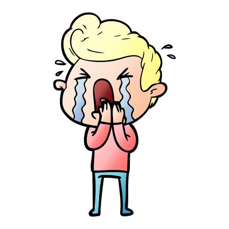 Cartoon crying man Stock Illustratie