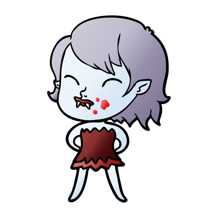 Cartoon vampire girl with blood on cheek Banco de Imagens - 95141719