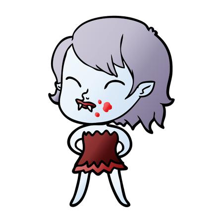 Fille vampire de bande dessinée avec le sang sur la joue Banque d'images - 95141719