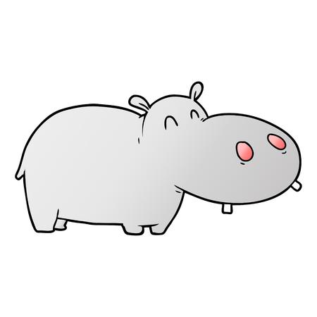 Cute cartoon hippo 일러스트