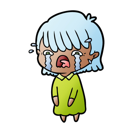 Cartoon girl crying Çizim