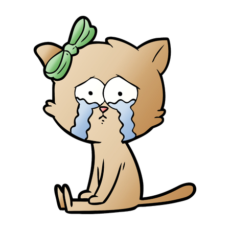 Crying cartoon cat