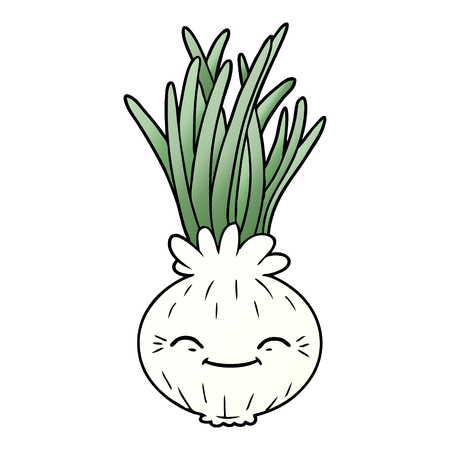 Cartoon onion illustration on white background.