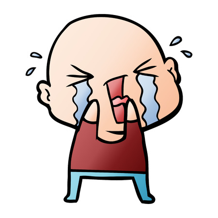 Cartoon crying bald man 일러스트