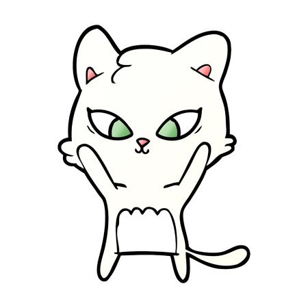 Hand drawn cute cartoon cat Illustration