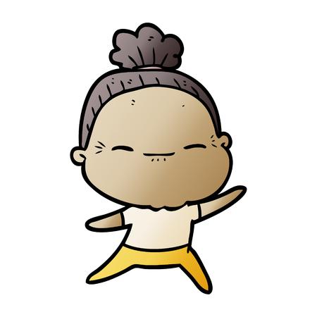 Cartoon peaceful old woman
