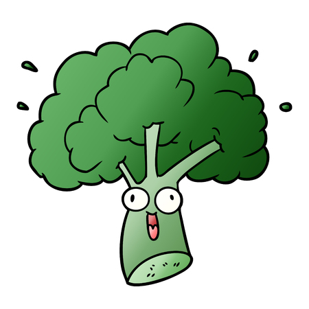 Hand drawn cartoon broccoli