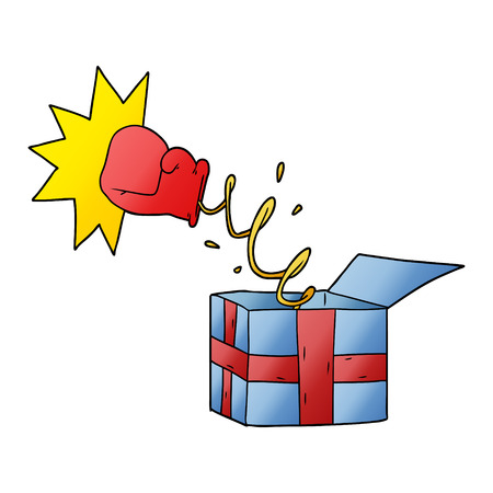 trick present with boxing glove Illustration