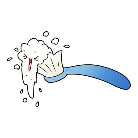 Toothbrush and toothpaste with facial expression  in cartoon illustration.