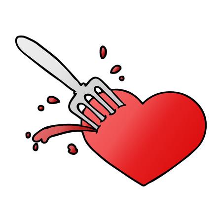 Cartoon heart stuck with fork vector illustration