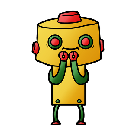cartoon robot giggling Illustration