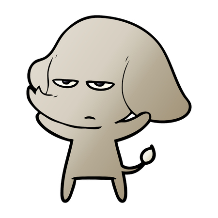 Annoyed cartoon elephant vector illustration