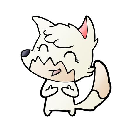Happy cartoon fox vector illustration