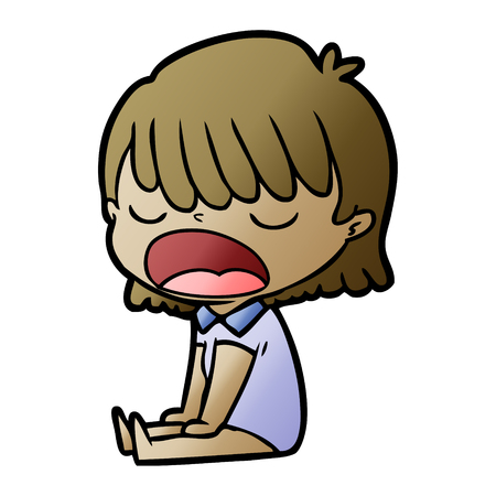 Cartoon woman yawning vector illustration
