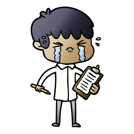 A vector cartoon illustration of a boy crying while holding a pen and a paper clipboard, isolated on white